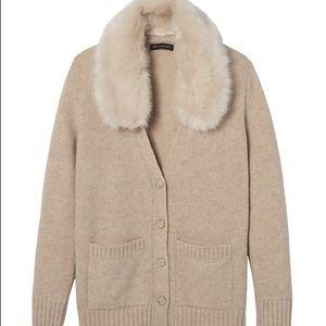BR Faux Fur Collar Cardigan